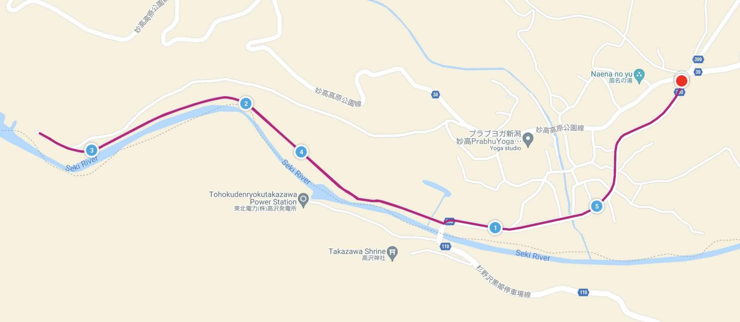 苗名滝コースマップ
